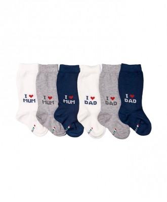 gambaletto neonato con motivo scritte LOVE MUM & DADgambaletto neonato in cotone elasticizzato con motivo scritte LOVE MUM & DAD