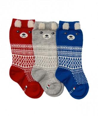 gambaletto neonato con motivo norvegese orsetto con orecchie