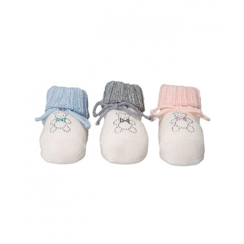 scarpina nascita con applicazione orsetto borchie
